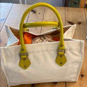 J Crew Cotton Canvas Tote with Patent Leather Trim
